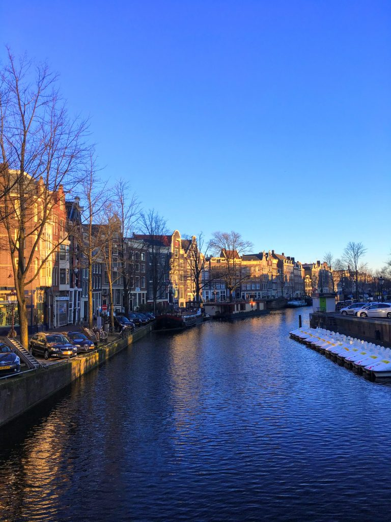 Amsterdam canal in winter