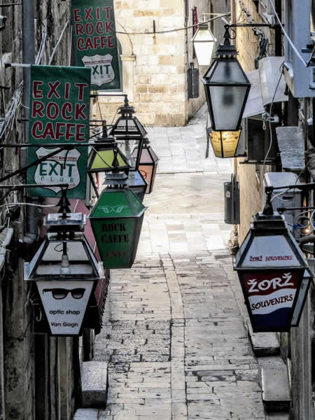 Dubrovnik streets are full of tourist shops!