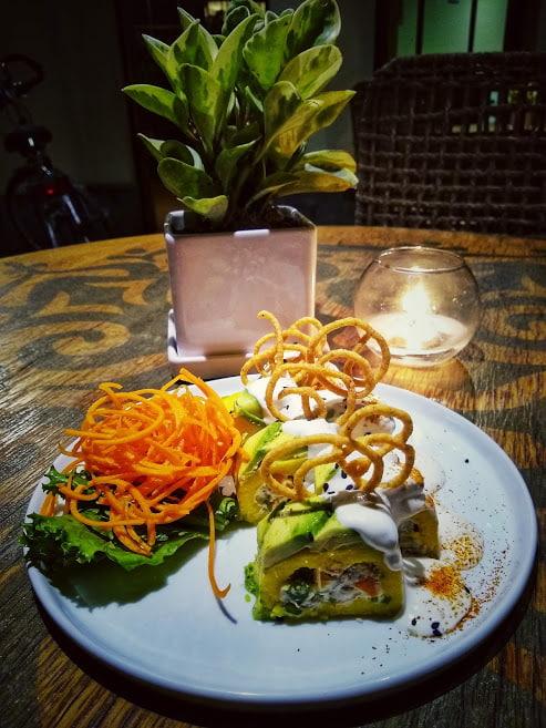 vegan cause rellena from veda restaurant in lima, peru