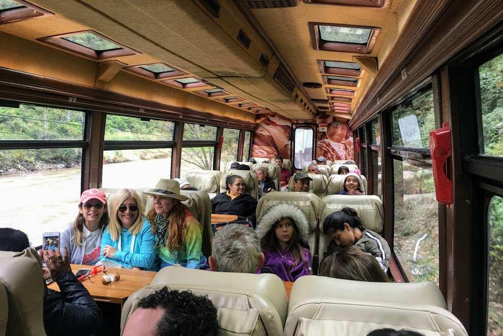 Voyager Class car on Inca Rail train to Machu Picchu