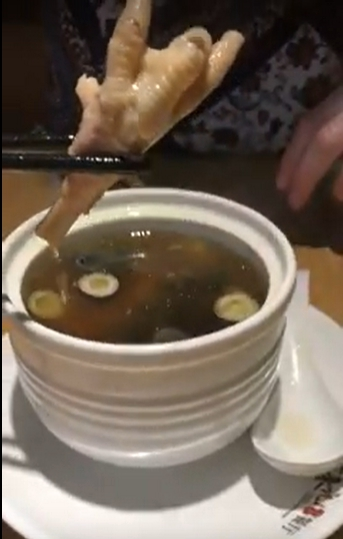 Chicken foot in noodle soup in China
