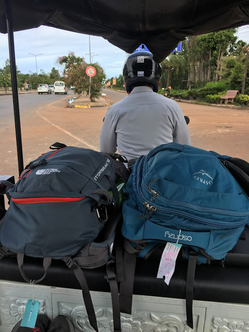 backpacks on a tuk tuk in cambodia - number one on any ultimate packing list is a good place to keep it all!