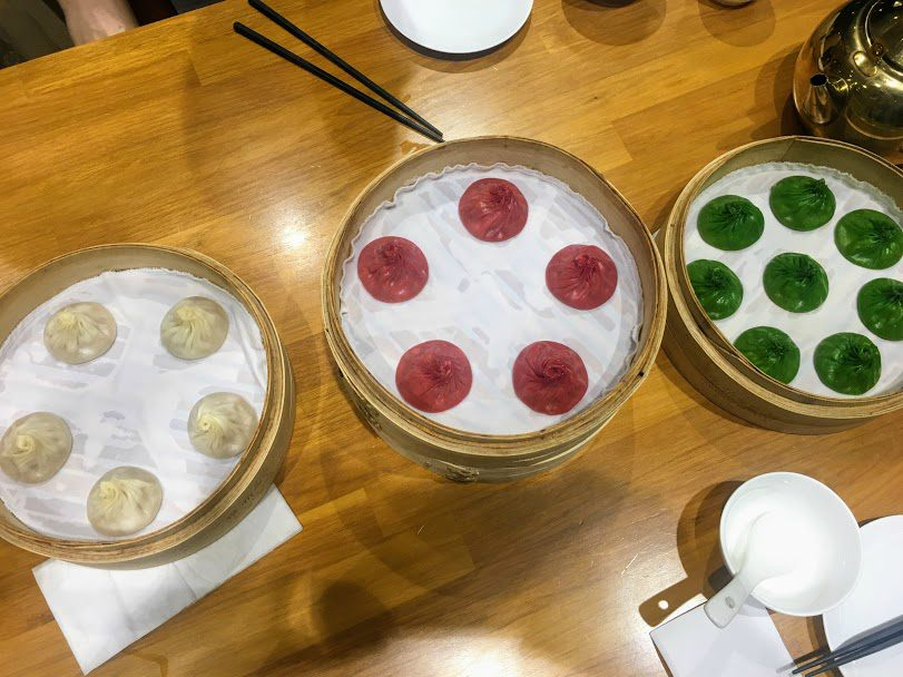 Rainbow soup dumplings from Paradise Dynasty in Shanghai